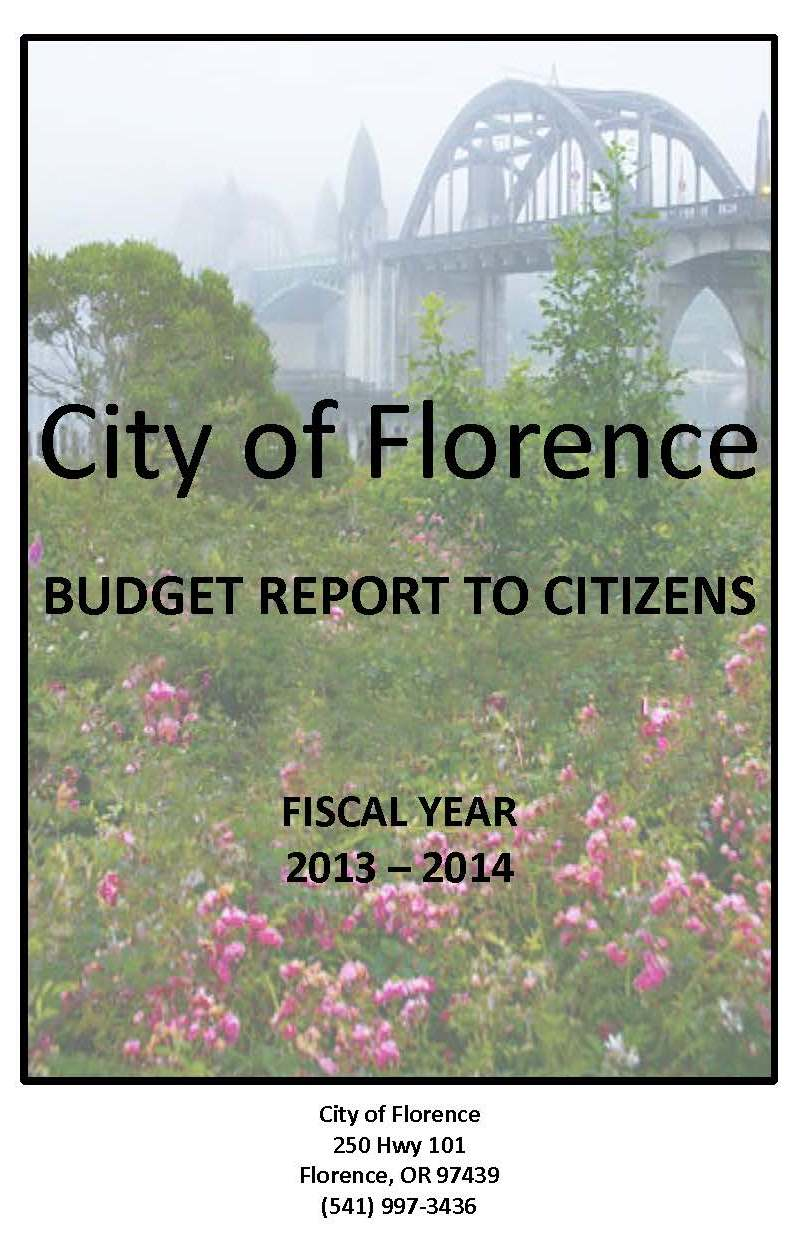 budget report to citizens award city of florence oregon